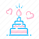 birthday, cake, love, lover, party, romance, valentine cake icon