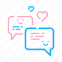 chat, heart, love, message, valentine icon