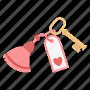 hotel, key, love, valentines