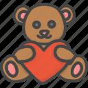 animal, bear, colored, heart, holidays, teddy icon