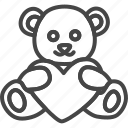 bear, heart, holidays, line, outline, teddy icon
