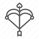 arrow, bow, cupid, heart, love, romantic, valentine icon