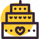 cake, heart, love, valentine, valentine's day, wedding icon