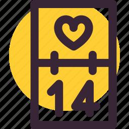 calendar, date, heart, love, romantic, valentine's day icon