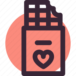 chocolate, gift, heart, love, relationship, valentine's day icon