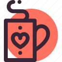 coffee, heart, hot, love, relationship, tea, valentine's day icon