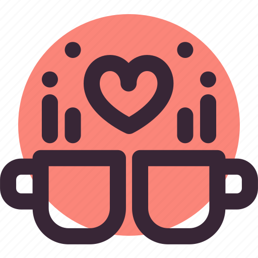 coffee, cups, heart, love, relationship, tea, valentine's day icon