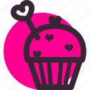 cupcake, gift, heart, love, relationship, valentine's day icon