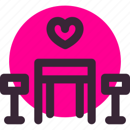chairs, date, heart, love, relationship, table, valentine's day icon