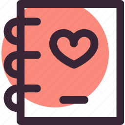 heart, love, note, notebook, relationship, wedding icon