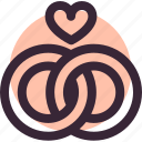 heart, love, lovers, relationship, rings, wedding icon