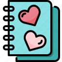 book, diary, heart, love, note, paper, valentine icon