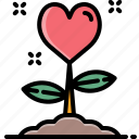 flower, growth, heart, love, nature, tree, valentine