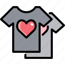 cloth, couple, fashion, heart, love, shirt, valentine icon