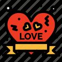 badge, heart, insignia, love, ribbon icon