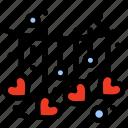 hanging, heart, love, valentine icon