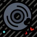 disk, heart, love, wedding icon
