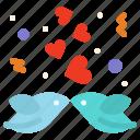 birds, couple, heart, love icon