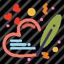 heart, love, pen, wedding icon