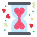 charity, donation, heart, hourglass icon