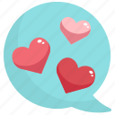 bubble, chat, communication, heart, love, message, valentine