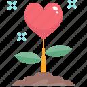 flower, growth, heart, love, nature, romance, valentine