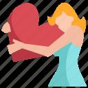 avatar, heart, hug, love, romance, valentine, woman