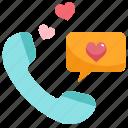 call, chat, communication, heart, love, phone, talk