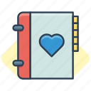book, favorite, heart, like, love icon, phone book icon