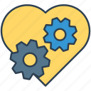 cog, configuration, gear, heart, options, preferences, setting icon icon