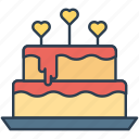 cake, food, gift, heart icon icon