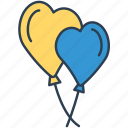 baloons, heart, hearts, love, party, valentines icon icon