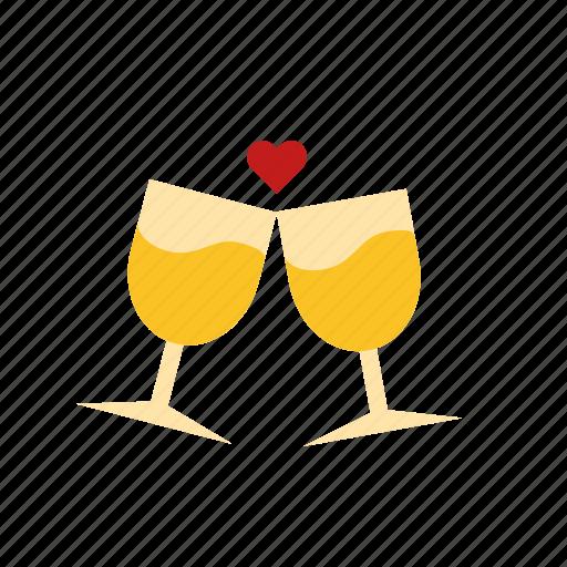 cheers, glasses, love, wine icon