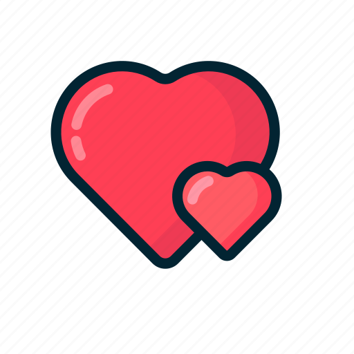 double, heart, love, red, valentine icon