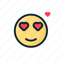 double eye, emoticon, fallin love, heart, love, valentine icon