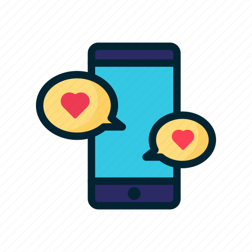 app, chat, heart, love, smartphone, valentine icon