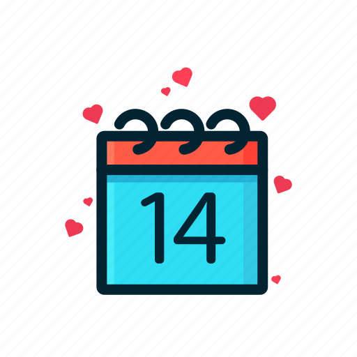 calender, day, febuary, heart, love, valentine icon