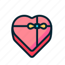box, chocolate, gift, heart, love, share, valentine icon