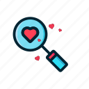 couple, heart, love, red, search, valentine icon