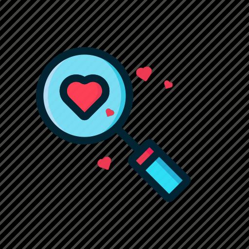 couple, heart, love, red, search, valentine icon