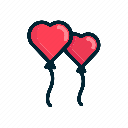 ballons, couple, heart, love, red, two, valentine icon