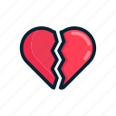 break up, couple, heart, love, pain, valentine icon
