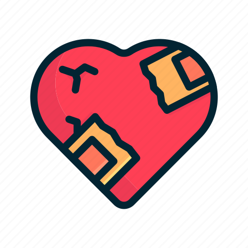 heart, hurt, love, pain, red, sick, valentine icon