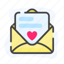 envelope, heart, love letter, mail icon
