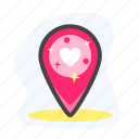 heart, marker, pin, valentine icon