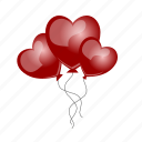 balloons, gift, hearts, love, romantic, sdesign, valentines icon