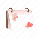 calendar, hearts, love, planner, romantic, sdesign, valentines icon