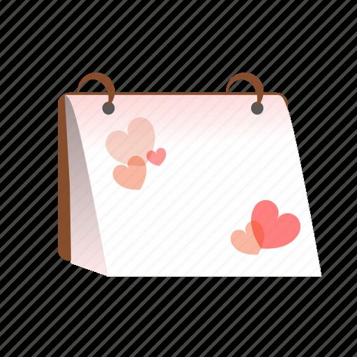 calendar, hearts, love, planner, romantic, sdesign, valentines icon
