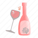 bottle, champagne, glass, love, sdesign, valentines, wine icon