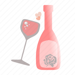 bottle, champagne, glass, love, sdesign, valentines, wine icon
